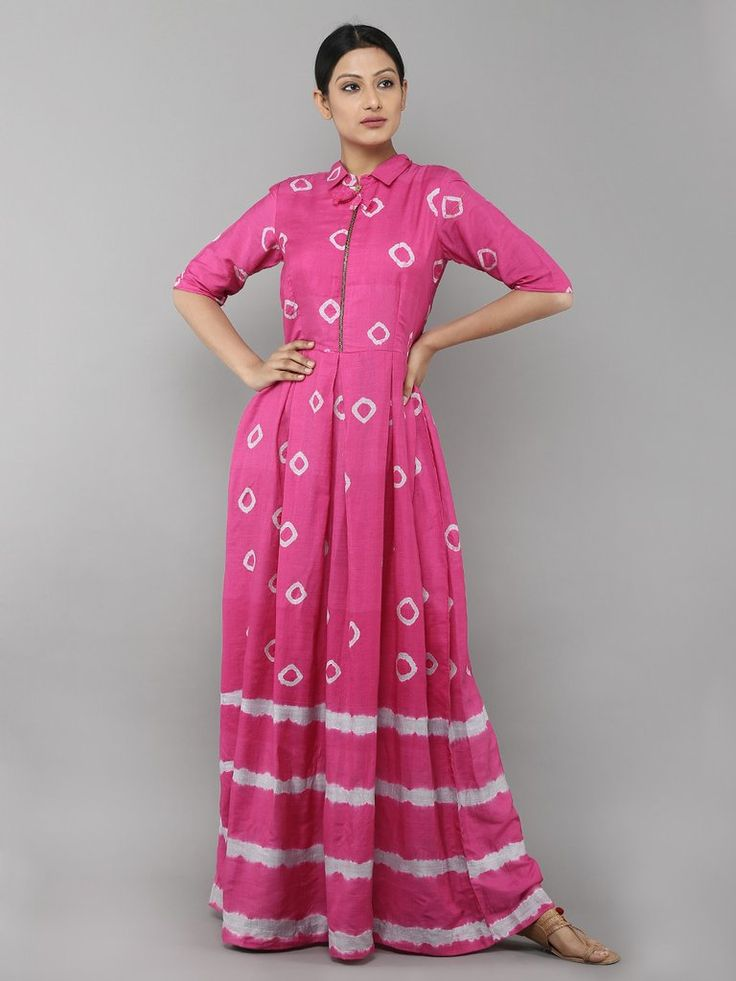 Pink Tie and Dye Cotton Silk Dress