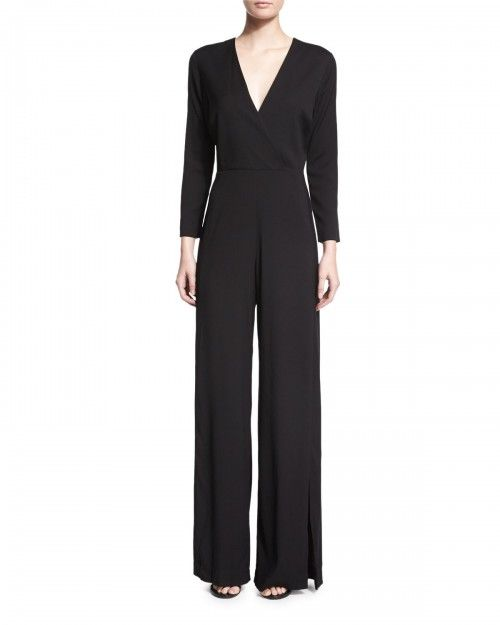 Veronica+Beard+Long+Sleeve+Wide+Leg+Jumpsuit+Black+Women's+2+|+Clothing