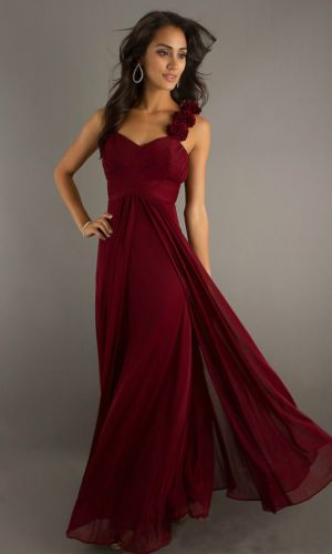Long Chiffon Bridesmaid Dress, Burgundy red | eBay $65.80