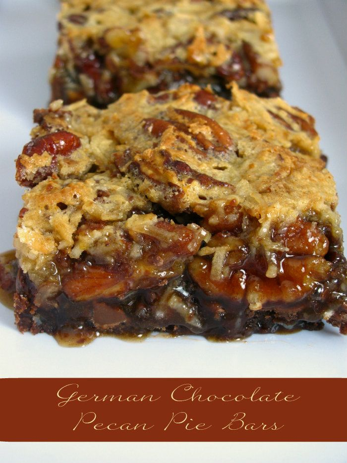 German Chocolate Pecan Pie Bars Recipe ~ These bars are filled with gooey chocolate, pecans, and coconut. A perfect treat to have with a cup of tea or coffee.