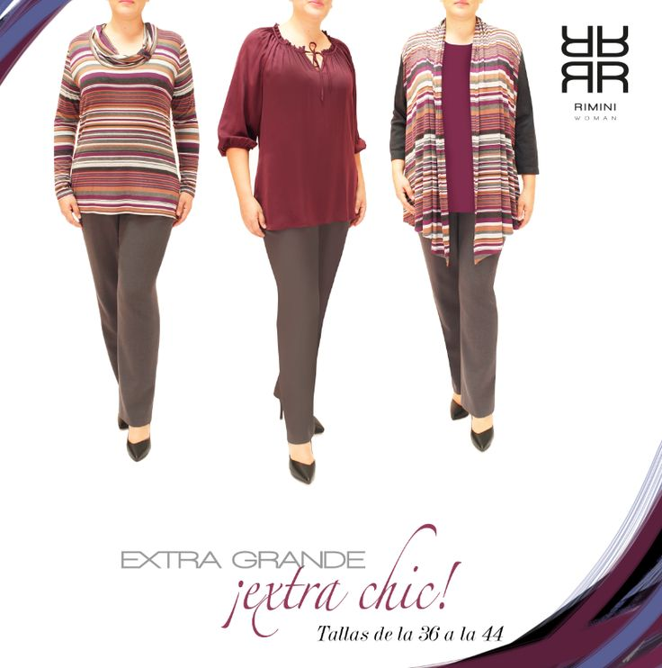 Nuestra línea Rimini Woman ( tallas extra grandes) , va de la talla 36 a la 44. Nuestras colecciones están desarrolladas para dar el confort que se necesita y además con diseños modernos y sofisticados. Este hermoso coordinado en telas importadas muy suaves al tacto en tonos azules, uva, gris, y lila, es perfecto para esta temporada. .#falda, #pantalón, #blusa, #suéter cozy. Cómpralo en línea, da click aqui! http://www.rimini.com.mx/linea.php?id_lin=4  ENVIOS GRATUITOS