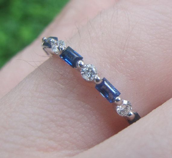 Sapphire and Diamond Band Round and Baguette Cut by MRoseDesign