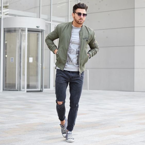 21 Fab Leather Jacket Outfits On The Street 2018 | Green bomber jacket Man style and Fashion