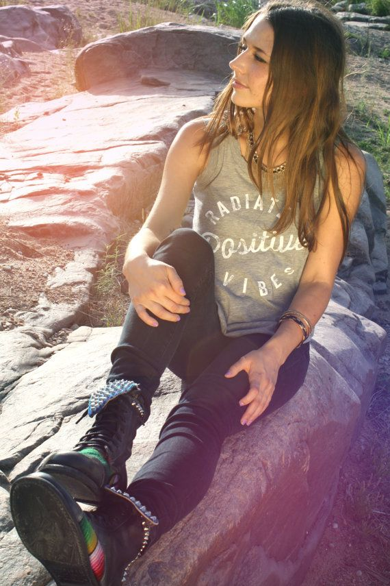 MEDIUM Radiate Positive Vibes Muscle Tank for the by bohocircus, $29.95 I really want this shirt!!!!!!