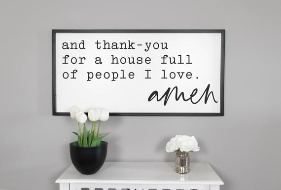 And Thank You For A House Full Of People I Love Sign, Framed Wood Signs, Living Room Sign, Farmhouse Sign, Large Wall Art, Signs For Home