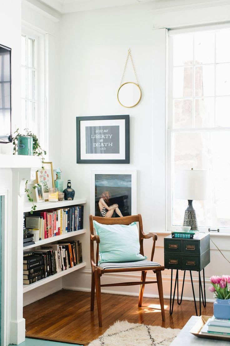 cozy reading corner - love the card catalogue table!