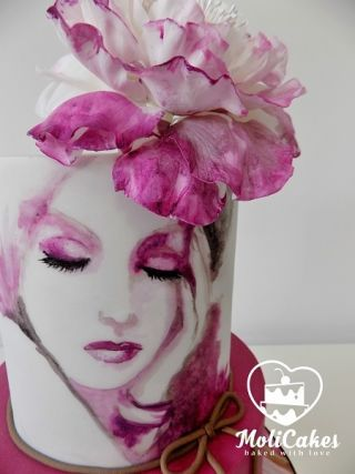Hand painted cake. Inspired by Lana Moes.