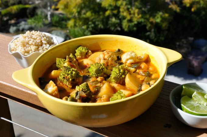Ordinary Vegan Golden Chickpea Curry with Roasted Cauliflower & Spinach