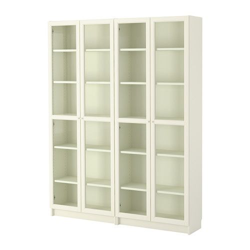 IKEA - BILLY / OXBERG, Bookcase, , Adjustable shelves can be arranged according to your needs.Adjustable hinges allow you to adjust the door horizontally and vertically.Glass-door cabinet keeps your favorite items free from dust but still visible.Panel/glass doors provide dust-free storage and let you hide or display things according to your needs.