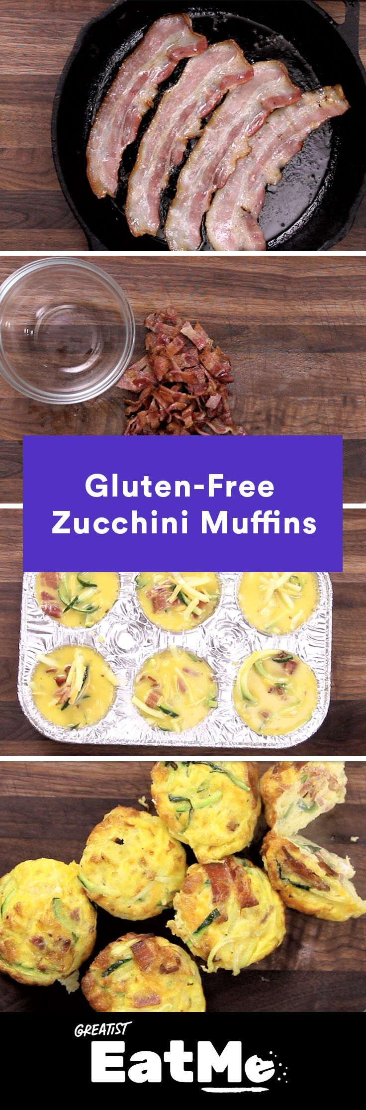 Savory breakfast FTW. #zucchini #egg #bacon #muffin #recipe http://greatist.com/eat/frittata-muffins-with-zucchini-and-bacon-recipe-video