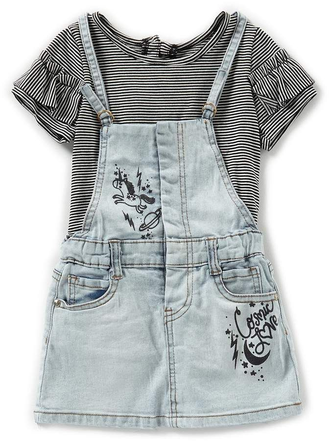 216ff6fb7 Baby Girls 12-24 Months Short-Sleeve Striped Bodysuit & Denim Jumper Dress  Set #sleevesribbed#bindingsnap#short | Children Clothes Summer in 2019 |  Denim ...