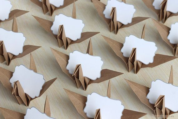 16 Name Place Cards / Kraft Origami Paper Crane / Neutral Wedding Reception / Birthday Party / Baby Shower Tea / Rustic Summer Picnic Favors