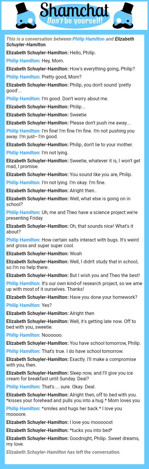 A conversation between Elizabeth Schuyler-Hamilton and Philip Hamilton