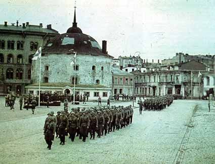 Finnish military parade in Viipuri on August 31, 1941, after its recapture