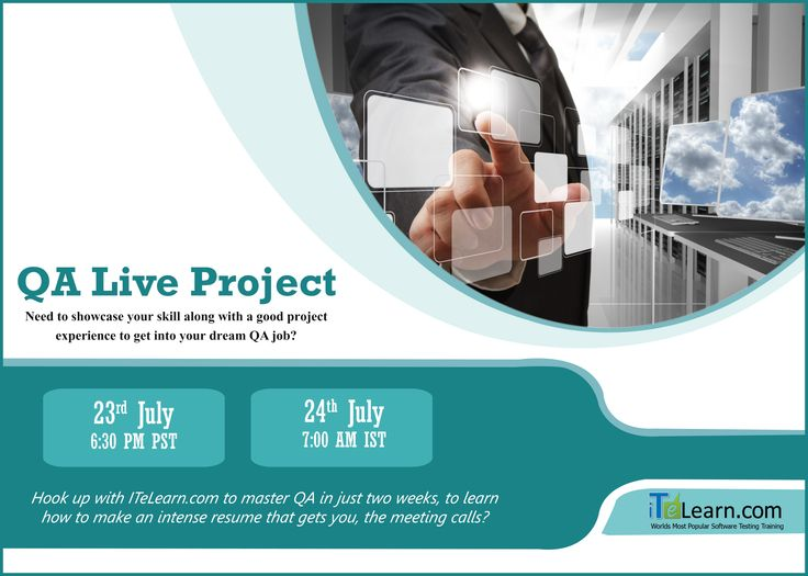 """QA Live Project ---------------------- http://www.itelearn.com/live-projects/qa-live-project/ Join us for #QA #LiveProject to be held on 23rd July at 6.30 PM PST/24th July at 7.00 AM IST. Join with #ITeLearn.com to master QA in just two weeks and get to know """"How to grab a QA #job in just 60 days""""?  Try not to miss this wonderful opportunity to join this Live project and get good live exposure with #projects."""