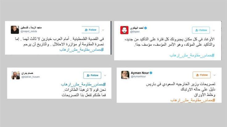Protes Pernyataan Saudi Tagar Hamas Bukan Teroris Menggema di Tanah Arab  KIBLAT.NET Jerusalem- Pengguna media sosial di tanah Arab melakukan aksi protes terhadap pernyataan Menteri Luar Negeri Arab Saudi Adel Al Jubeir yang meminta Qatar untuk mengakhiri dukungannya kepada Hamas. Massa bereaksi mengecam Adel Al Jubeir atas perkataanya yang menyebut Hamas sebagai organisasi teroris.  Aksi protes tersebut ditandai dengan tagar berbahasa Arab #حماس_مقاومة_مش_إرهاب yang artinya Hamas adalah…