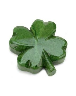 Green Four Leaf Clover Italian Alabaster Paperweight
