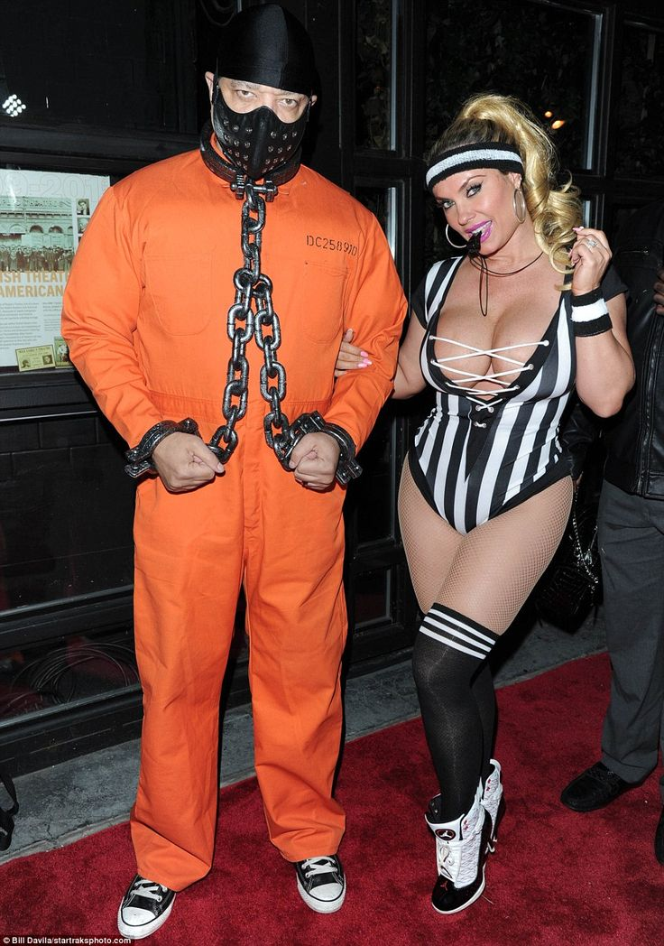 Looking good: Coco Austin wore a revealing referee look while her husband Ice-T wore a prison costume for the party