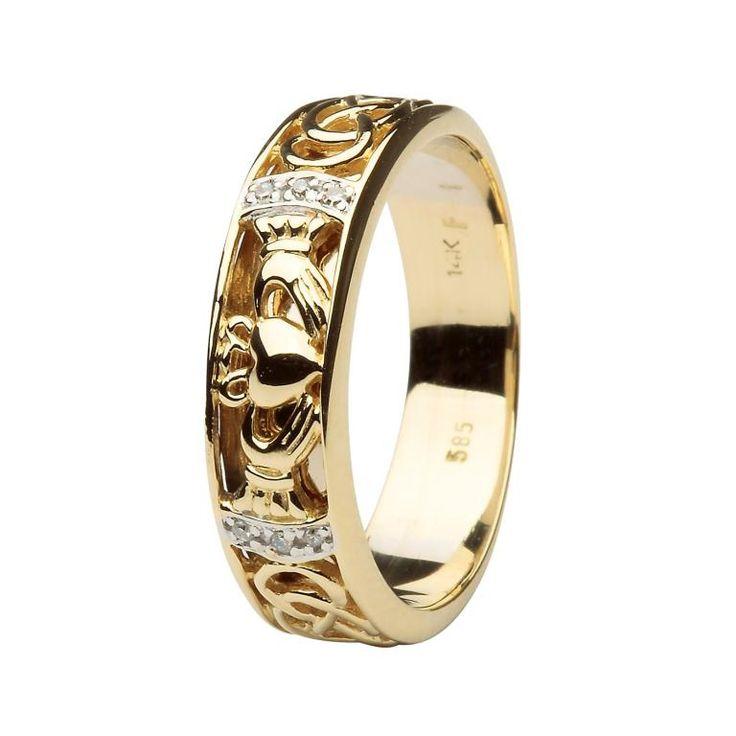 Claddagh Wedding Band Diamond Set With Celtic Knotwork By