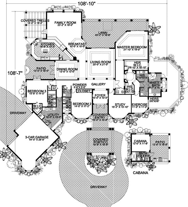Florida Style House Plans - 4680 Square Foot Home, 1 Story, 3 Bedroom and 2 3 Bath, 3 Garage Stalls by Monster House Plans - Plan 37-129