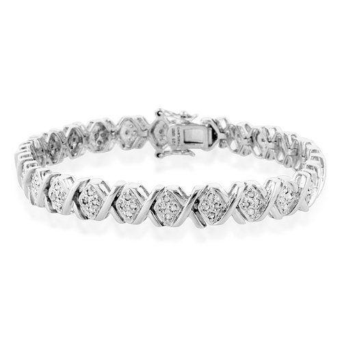 "1.00ct TDW Diamond Hugs and Kisses Bracelet in Sterling Silver - 7.5"" Netaya. $158.00"
