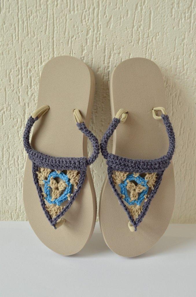 free crochet pattern flipflops Annelies Baes - Vicarno, #haken, gratis patroon, Nederlands, slippers