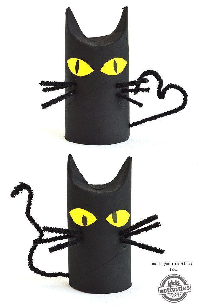 Das können auch kleine Kinder: Halloween – Katzen aus Toilettenpapier machen