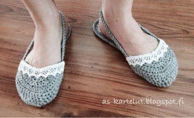AS-kartelut: Virkatut tossut #crochet #slippers #flipflops