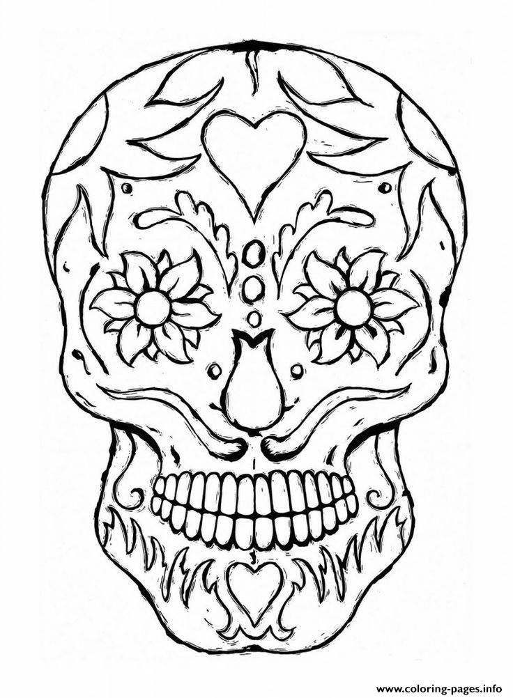 Print Adulte Tatoo Skull Eyes Flowers Coloring Pages