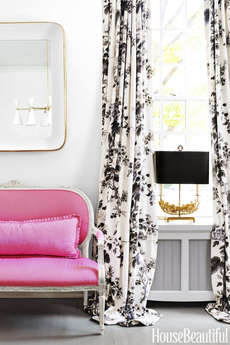 Dining Room: Curtains in Schumacher's Pine Hollyhock print | Black, white,  hot pink