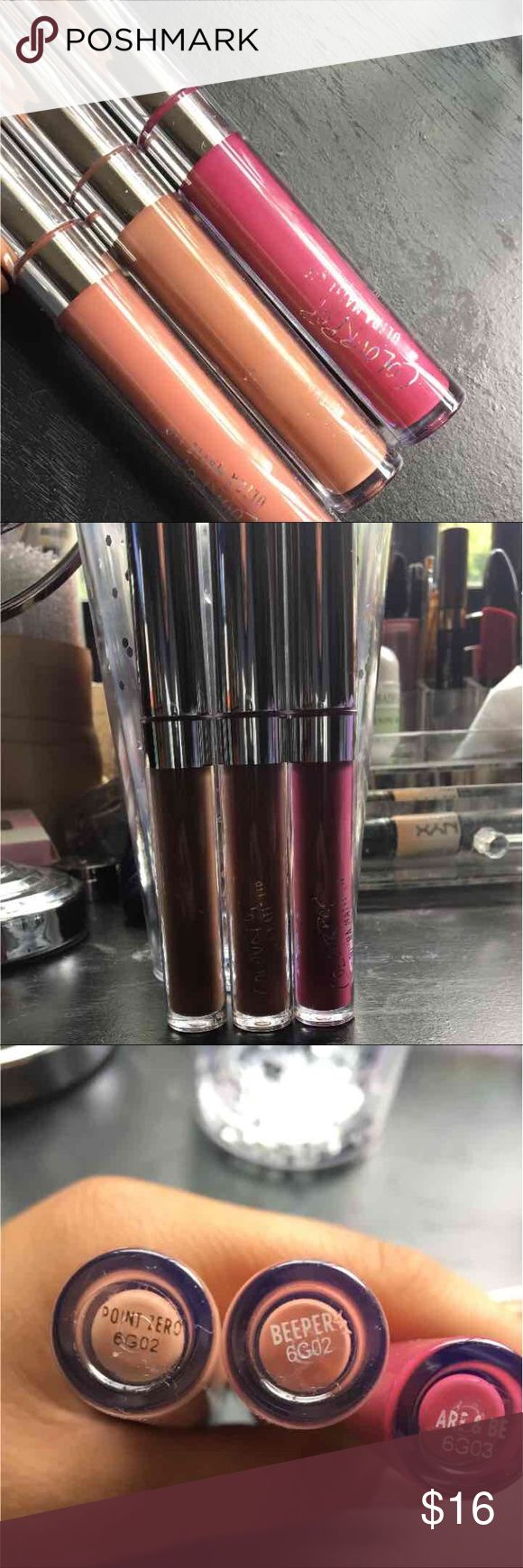 3 colourpop cosmetics lipsticks Shades-beeper, ARE&BE, point zero Colourpop Makeup Lipstick