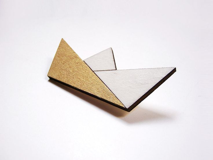 Hand painted, laser cut, plywood brooch - Paper boat