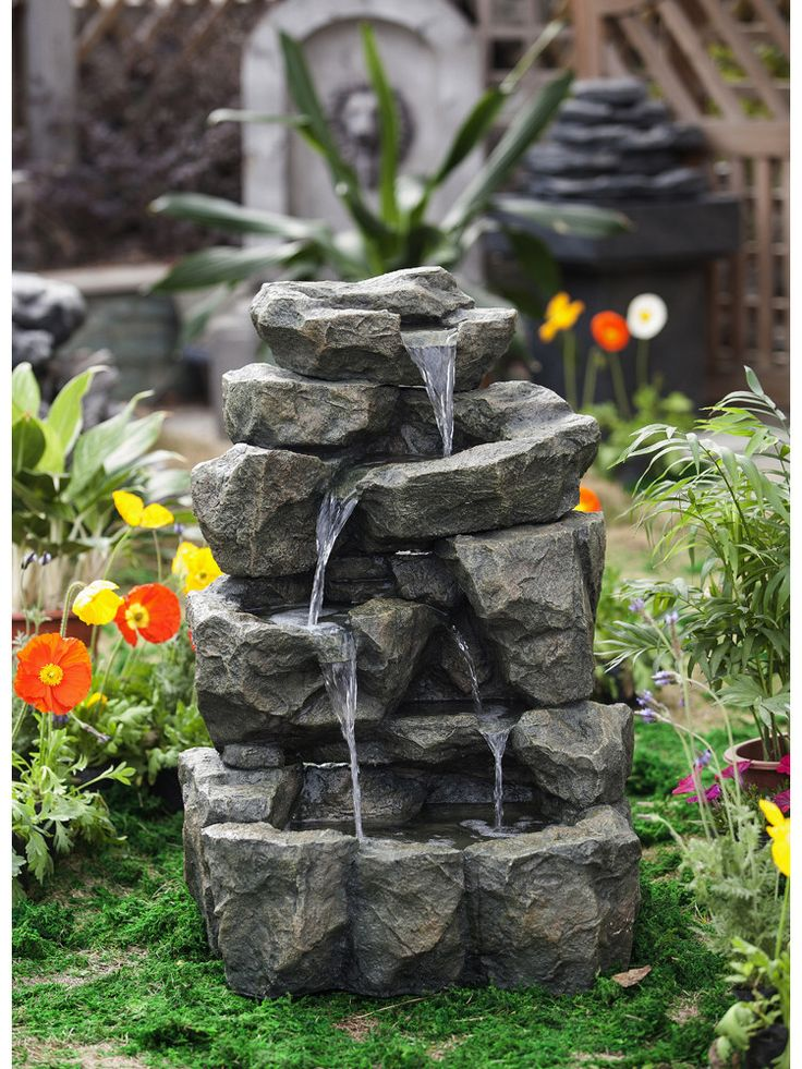 Best 25 rock waterfall ideas on pinterest dream pools for Garden rock waterfall fountain