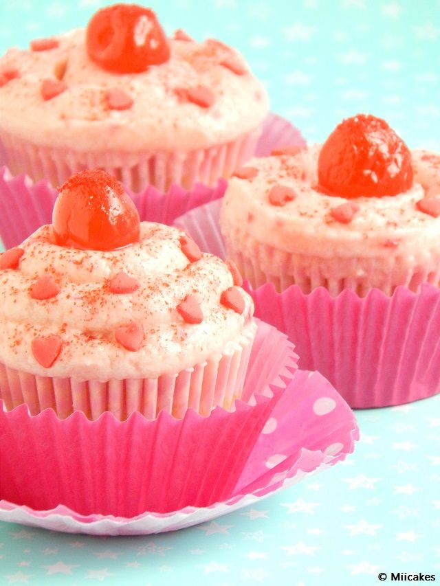 Cupcakes de cerezas al Marrasquino: Miicakes