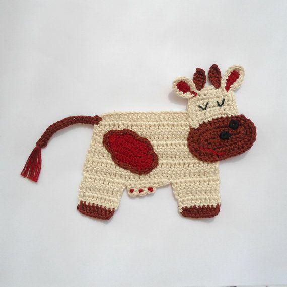 Crocheted Applique Cow di Clewinhand su Etsy, $5.00