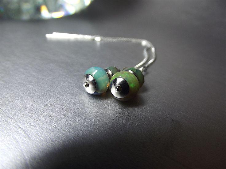 Ethiopian Fire Opal earrings, ear thread earrings. Long dangle earring. Minimal style jewelry. Nice, cute, small and elegant jewelry. by Taptamba on Etsy