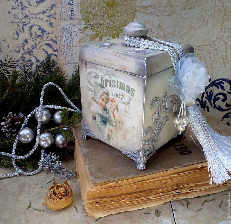 """Купить """" Изморозь """" рождественская коробочка-бонбоньерка - коробочка, подарок, новый год декупаж"""