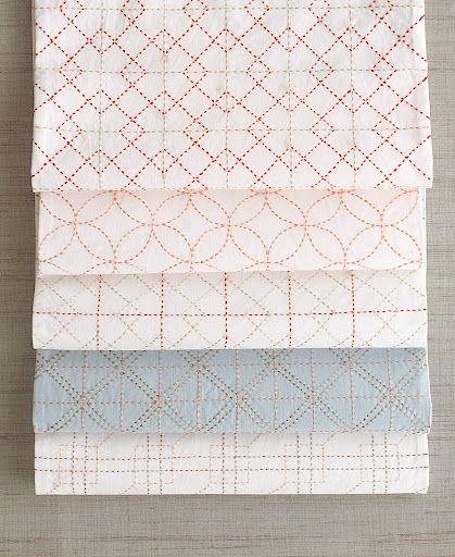 japanese sashiko embroidery. The patterns shown here from top to bottom: hiyokuigeta, shippoutsunagi, hiyokuigeta, koushiawase, and koushitsunagi.
