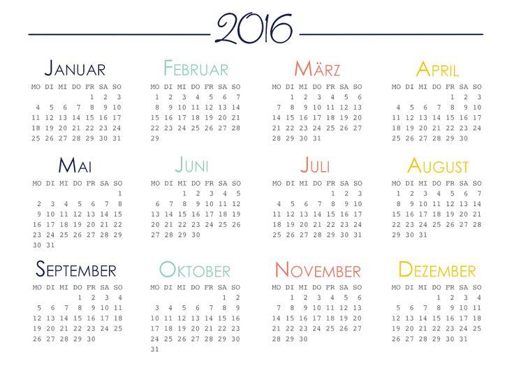 Filofax Jahresübersicht 2016 - Kostenloser Download