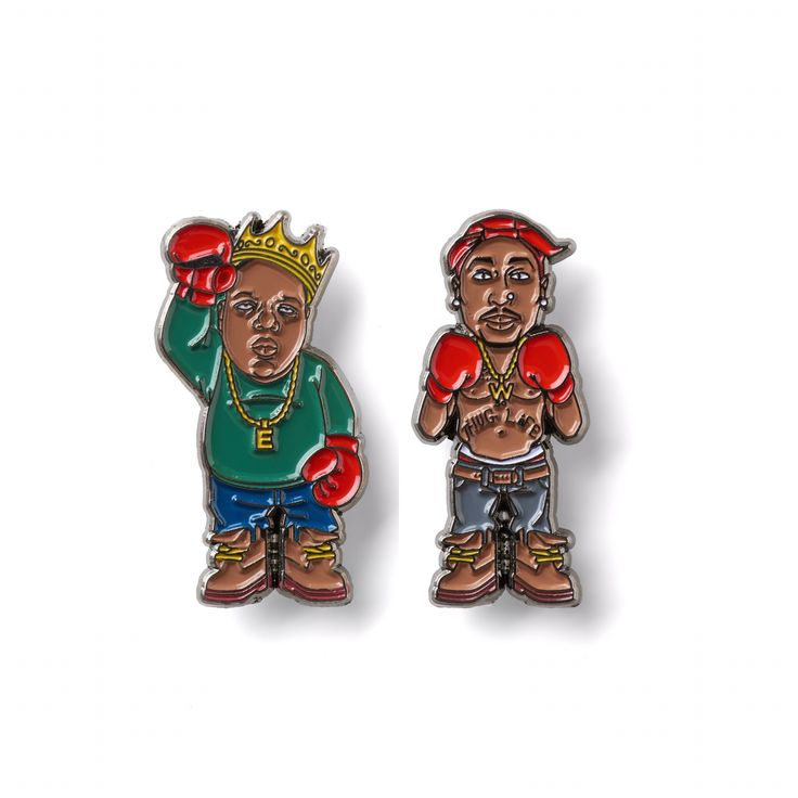 "2pac and Biggie Smalls ""12th round"" Lapel pin set"