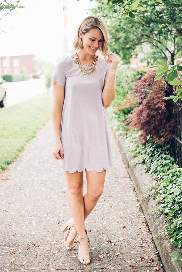 Luscious Lavender Scalloped Dress