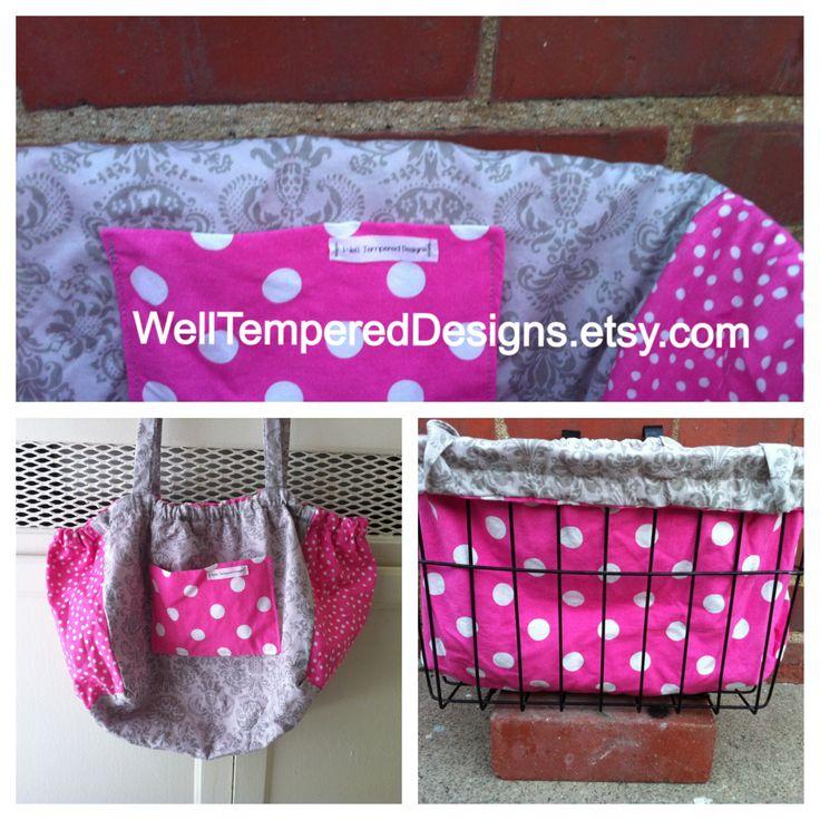 Damask and Pink Polka Dot Reversible bicycle basket liner tote bag WellTemperedDesigns.etsy.com