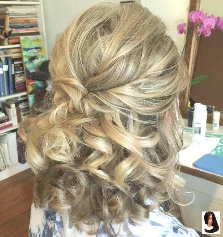 Curly Half Up Frisur für mittleres Haar