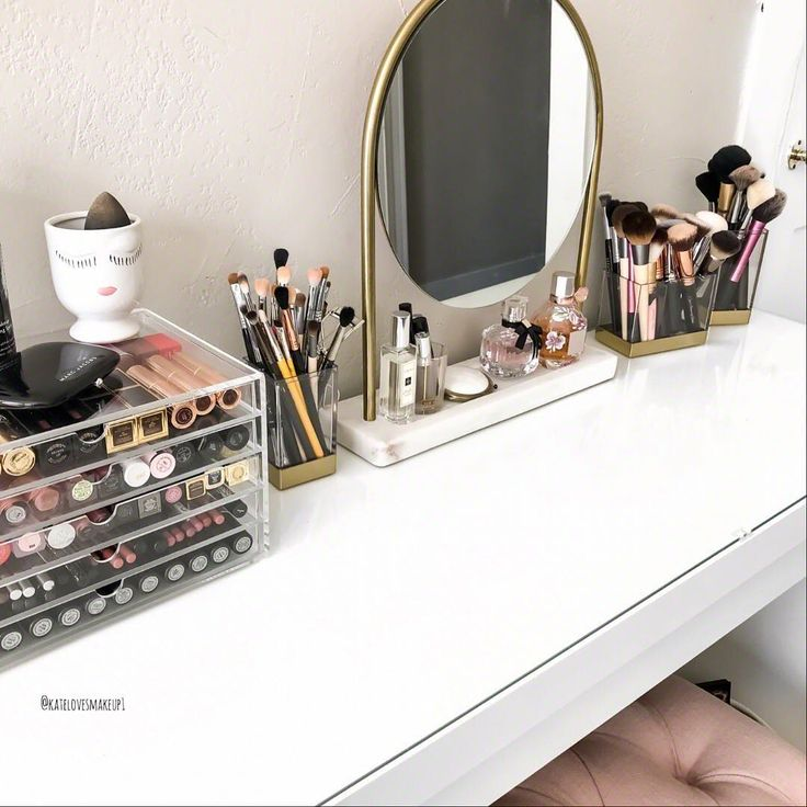 Ikea Malm Dresser with gold mirror and gold makeup brush holders - girly makeup vanity