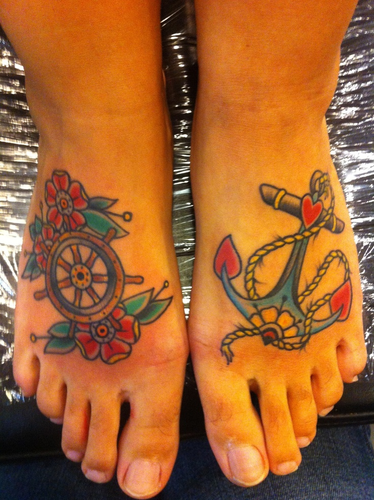 "this was taken right after i got them done… they were by chopper at atomic tattoo in brandon town center mall…. i showed him a plain photo of an anchor and a helm, and he drew these lovies up for me. i love them so much! the meaning behind them comes from the quote ""be the one to guide me but never hold me down."""