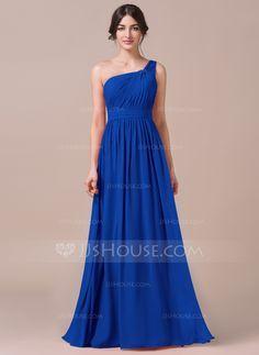 Forme Princesse Encolure asymétrique Longueur ras du sol Mousseline Robe de demoiselle d'honneur avec Plissé (007057740) - JJsHouse