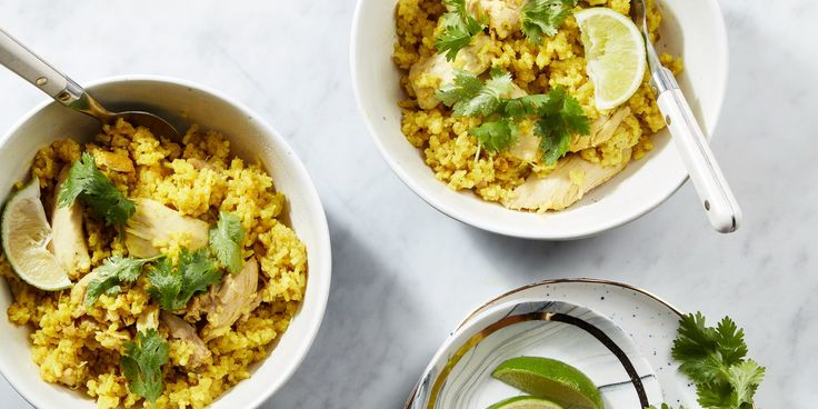 This punched-up chicken-and-rice dish, made in the Instant Pot, is inspired by mulligatawny soup, with curry spices, creamy coconut milk, bright ginger, and fresh lime juice.