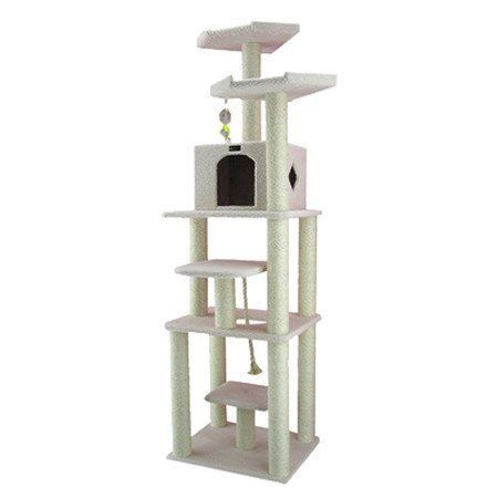 78 Classic Cat Tree in Ivory  Premium Cat Tree for Large Cats and Kittens Cat Furniture Bundles with Scratching Post and Cat Condo Cheap Cat Trees and Condos with 6 Months Warranty -- You can get more details by clicking on the image.