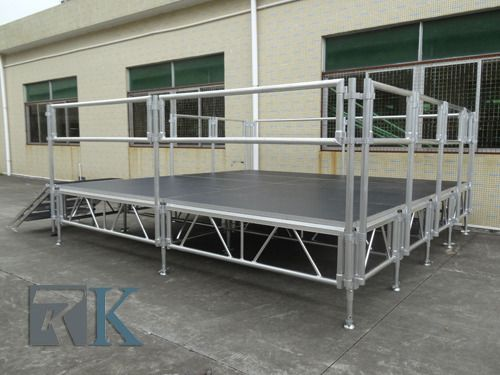 【beyondstage.com】Beyond Stage is made of stage frame, pillar,connector, lock and base. It is widely used for outdoor event, such as concert, T-show, exhibition etc. It is consist of 4 adjustable legs and 1pcs platform with easy install and take off. For the platform we can provide 1x1m, 1x2m, 4x4ft, 4x8ft. In addition,the stage legs are height adjustable! The platform you can choose carpet, organic glass or non-slip pedals accord to your needs. Stage load capacity is more 850kg/sq.m.