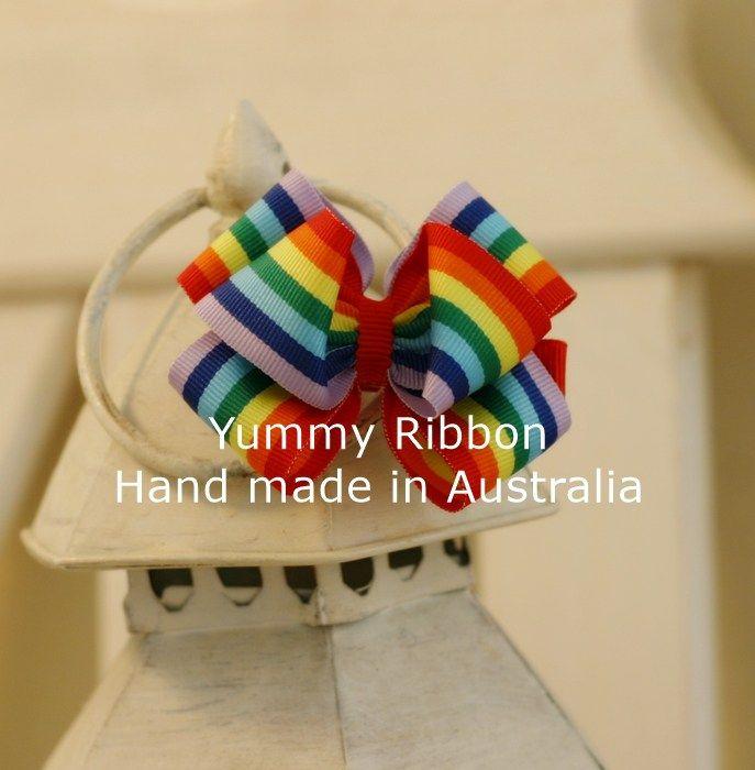Over the Rainbow | m01  Medium size ribbon bow clip  100% Handmade in Australia  Bow size: 7cm x 6cm (apporx)  Clip length : 5cm(alligator clip)